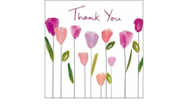 Pack of 5 Small Square Thank You Greeting Cards Blank Inside Thankyou Card Packs