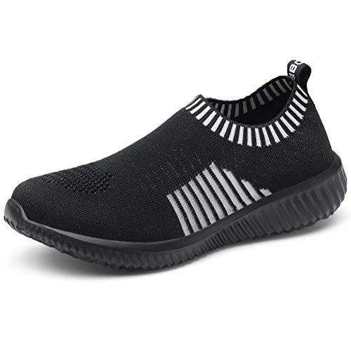 LANCROP Women's Comfortable Walking Shoes - Lightweight Mesh Slip On Athletic Sneakers 8.5 M US Black ()