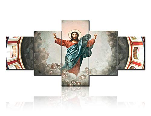 - TUMOVO Jesus Christ Cloud Sky Heaven Virgin Mary Resurrected Canvas Prints Wall Art 5 Pieces Poster Picture Giclee Artwork Stretched Gallery Canvas Wrap Giclee Print for Living Room Decor (50x24inch)