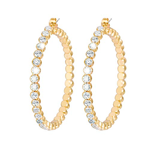 (VUJANTIRY Crystal Hoop Earrings for Women Gemstone Beads Hoops Earrings Gemstone Beaded Hoop Earrings 2 Inches (Gold) )