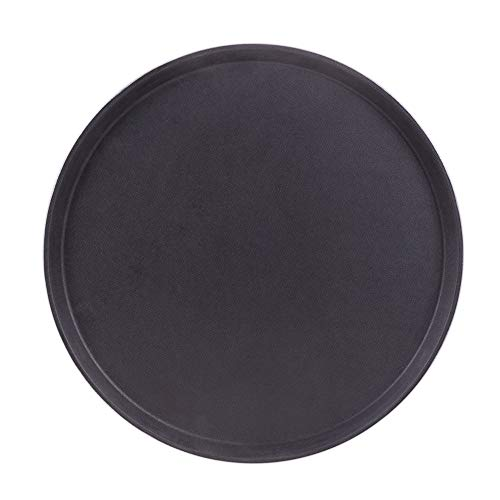 Round Black Plastic Serving Tray with No-Slip Rubber Safety Lining | Commercial Restaurant & Diner Quality Food, Coffee, Drink Waiter Carrying Tray | 11