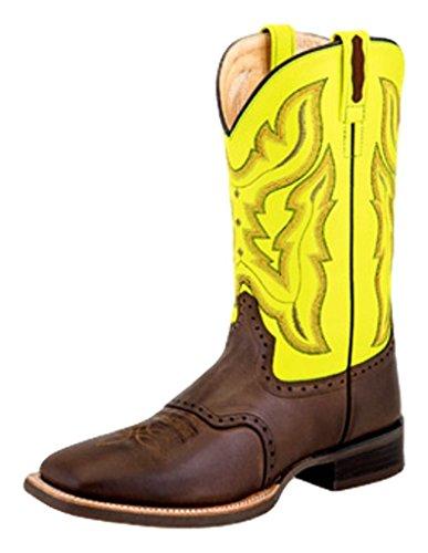 Gamla Väster Cowboy Boot Män Bred Torg Kantas Choklad Barnwood Bsm1884 Choklad Barnwood Fluorescerande Grönt