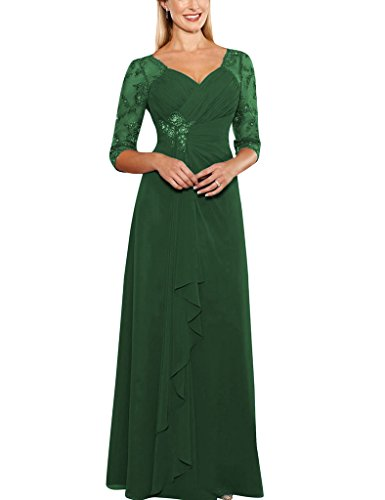 S H Dresses D Prom green Dark Sheer Beads Bride The Gowns Formal Sleeves of Mother Applique Half dqq1rng