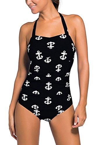 Minetom Monokini Bañador De Una Piezas Mujer Bikini Elegante Cómodo Beach Swimwear Halter Anclas Polka Dot Multicolor Impreso Negro