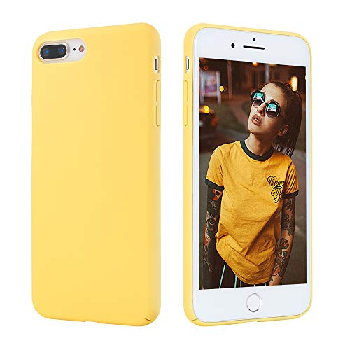 AQT Compatible with iPhone 7 Plus and iPhone 8 Plus Case - Yellow Hard Shell Cover Plastic Protective Shockproof Phone Case for 5.5 inch - Hard Plastic Iphone
