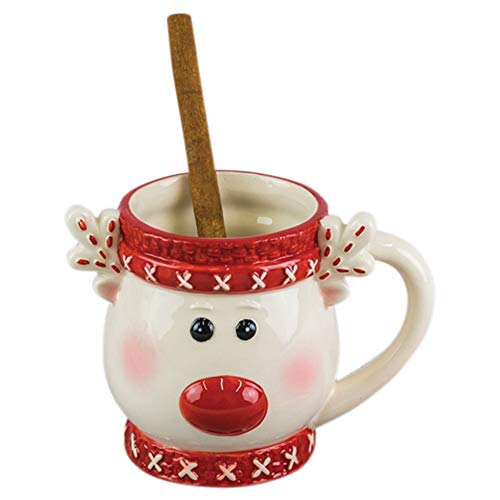 Rudolph Reindeer Festive Red and White 16 ounce Glossy Ceramic Christmas Mug