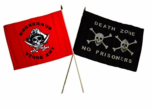 (ALBATROS 12 inch x 18 inch Pirate Red Surrender Booty with Death Zone Stick Flag for Home and Parades, Official Party, All Weather Indoors Outdoors )