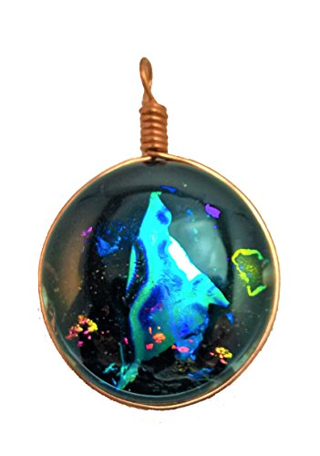Black / Multi Color Dichroic Glass Pendant with Copper Chain Necklace