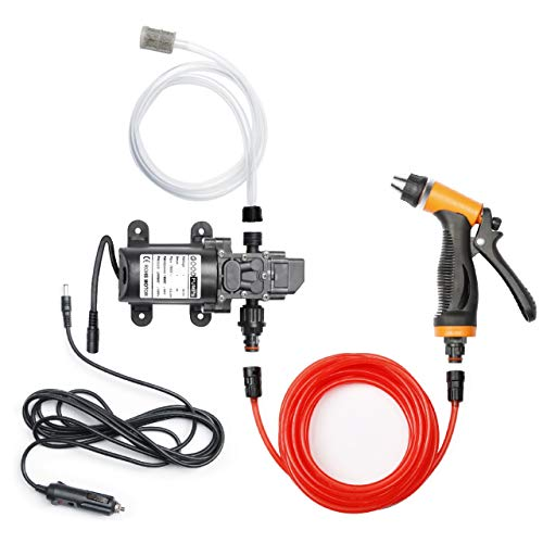 Bang4buck Portable Intelligent Electric Pressure Washer Pump 100W 160 PSI 12V High Pressure Powerful Washing Kit with 21.3 Feet PVC Hose for Home, Garden, Vehicles, Projects(100 W-Black Hose)