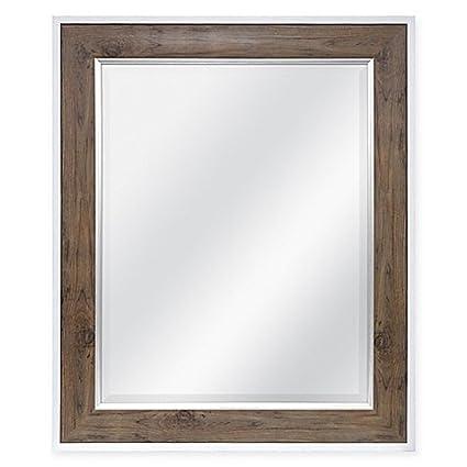 Amazon Com Rectangular 2 Tone Mirror Distressed Wood Frame