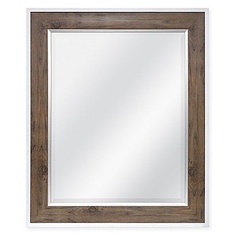Rectangular 2-Tone Mirror Distressed Wood Frame In Natural And White - Review Gq Magazine