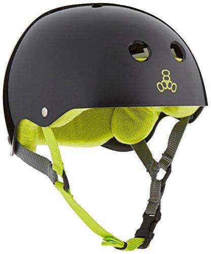 Triple Eight Sweatsaver Liner Skateboarding Helmet, Black Glossy, Medium