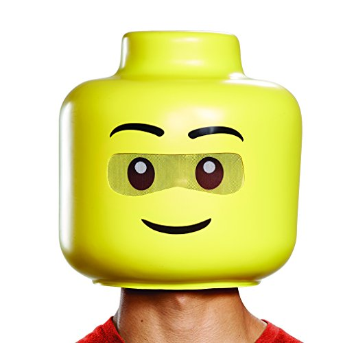 Disguise Men's Lego Guy Adult Full Head, Yellow One -