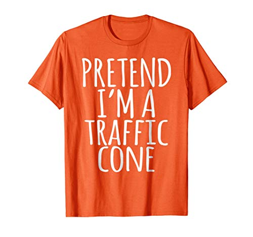 Lazy Funny Halloween Costume Shirt - Orange Traffic Cone Tee]()