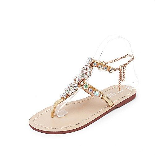 Sandalias EU Disponible Diamantes 44 Mujer Más de Imitación Filón Talla de Falsos de Cadenas Dorado de Planas Angel Size de Gladiador love beauty HI1xfBz