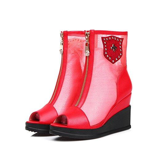 AllhqFashion Women's Zipper Peep Toe High Heels PU Solid Sandals Red avZw42