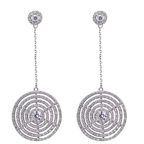 SILVERAL Silver Earrings for Women Crystal Round Disc Spiral Dangle Earrings Pierced Earrings (Round Disc Silver)