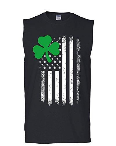 Tee Hunt Shamrock Flag Stars and Stripes Muscle Shirt Irish St. Patrick's Day Sleeveless Black XL