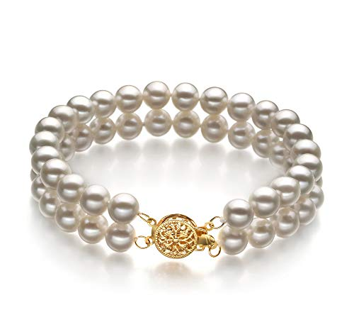 Lola White 6-7mm Double Strand AA Quality Freshwater Cultured Pearl Bracelet for Women-7 in -