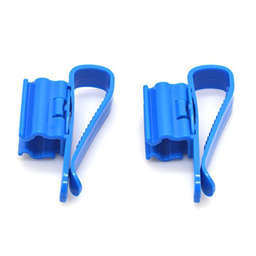 Hose Holder,Pack of 2 PCS Multi-Function Blue Plastic Adjustable Fish Tank Filter Aquarium Filtration Bucket Mounting Clip for 8-16mm Inflow Outflow Water Pipe/Tube Firmly Hold the ()