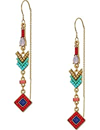 Womens Geo Stone Threaders Earrings