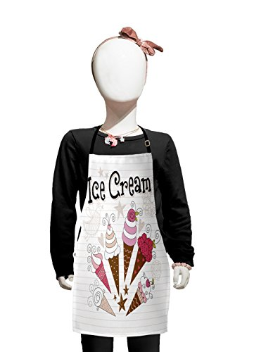 (Lunarable Ice Cream Kids Apron, Artistic Strawberry and Vanilla Ice Cream Flowers Hearts Stars Bird Doodle, Boys Girls Apron Bib with Adjustable Ties for Cooking Baking and Painting, Pink Brown Tan)