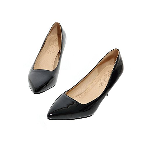 Kitten Leather Women's Heels AmoonyFashion Shoes Patent Closed Toe Solid Square Black Pumps Fqx5AAIw