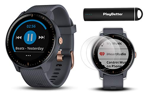 Garmin vivoactive 3 Music GPS Watch Power Bundle | with HD Screen Protectors (x4) & PlayBetter USB Portable Charger | Spotify, Activity/Fitness Tracking, Garmin Pay (Music - Granite Blue/Rose Gold) ()