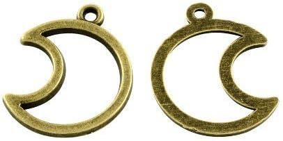 Mond - Charming Beads - Paket 10 x Steampunk Antik Bronze Tibetanische 25mm Charms Anh/änger ZX15275
