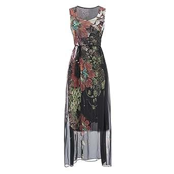 db2954633b13 Toping Fine 2018 Chiffon Dress Waist Sleeveless Round Neck Bohemian Dress, Black,S