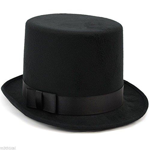 Deluxe Felt High Crown Costume Top Hat Victorian Dickens Black Adult - 1920s Steampunk