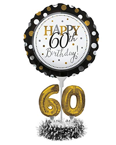 Creative Converting Happy 60th Birthday Balloon Centerpiece Black and Gold for Milestone Birthday - 317308 -
