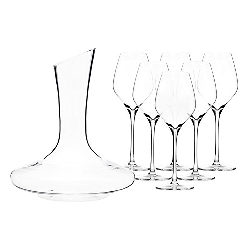 Triangle Hand-blown Lead-free Crystal Red Wine Decanter and Glass Set, 61.5-ounce Decanter with Bordeaux/All Purpose Wine Glasses Set of 6, Long Stem Large Bowl (Large Glasses Wine Bordeaux)