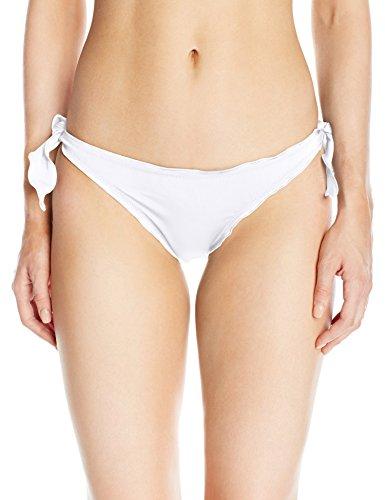 GUESS Women's Solid Ruffle Cheeky Bikini Bottom, Optic White, S Rhinestone Trim Bikini
