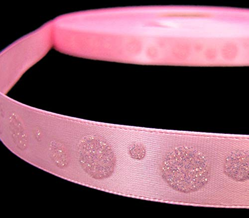 - 2 Yds Glitter Polka Dot Satin Ribbon 5/8