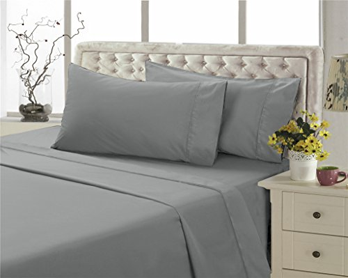 Solid Microfiber - 4U LIFE Ultra Soft Luxurious Microfiber Bed Sheet Set, Grey, Twin