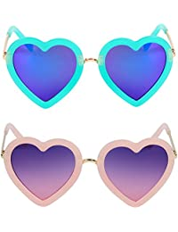 2 Pcs Kids Polarized Heart Shaped Sunglasses for Toddler...