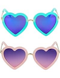 2 Pcs Kids Polarized Heart Shaped Sunglasses for Toddler...
