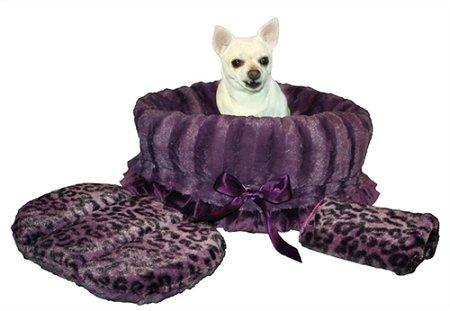 Reversible Cheetah - Pet Flys Purple Cheetah Reversible Snuggle Bugs Pet Bed, Bag and Car Seat in One