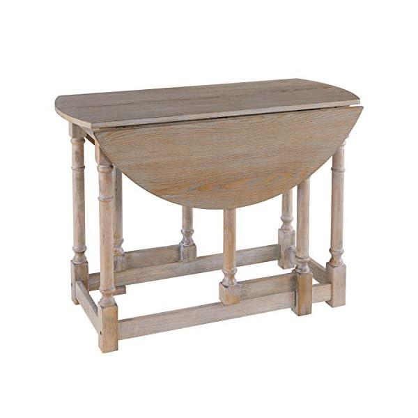 Gateleg Convertible Dining Table - Farmhouse Style Transforming Table - Space Saving (Burnt Oak)