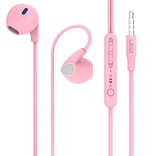 Earbuds, Uiisii U1 Pink in Ear Headphones with Heavy Bass, Cute Earphones with Microphone and Volume Control, Compatible for iPhone Android Smartphones