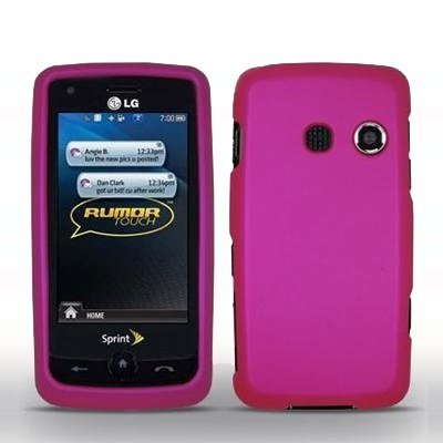 (Premium Hot Pink Rubberized Snap-On Cover Hard Case Cell Phone Protector for LG Rumor Touch LN510)