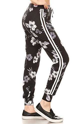 ShoSho Womens Joggers Track Pants with Side Striped Mesh Panels Floral Print Black/White ()
