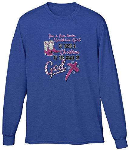 Blittzen Mens Long Sleeve T-Shirt Fun Lovin Southern Girl, 2XL, Royal Blue ()
