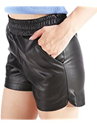 Women's Plus Size Sports Casual PU Leather Elastic Shorts