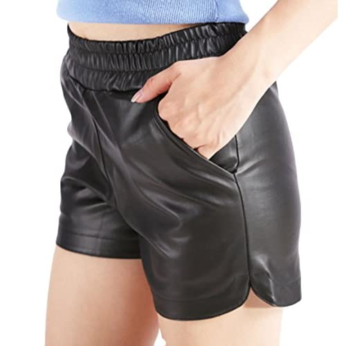 Abbyling68 Women's Plus Size Sports Casual PU Leather Elastic Shorts