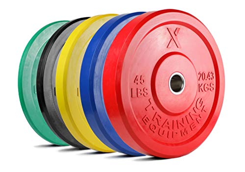 X Training Equipment Premium Color Bumper Plate Solid Rubber with Steel Insert - Great for Crossfit Workouts (35lb Single (Blue))