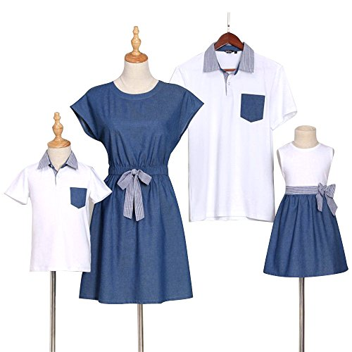 PopReal Short Sleeve Cotton T-Shirt and Bowknot Dress Family Matching Outfits,Mom-denim,Medium