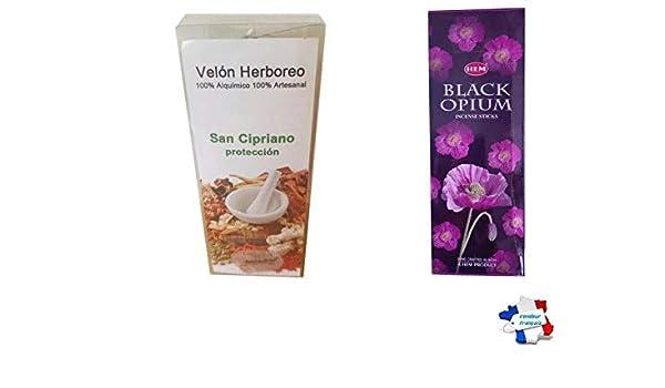 WLM - Luz Nocturna con Hierbas para la protección e Incienso Hem Black Opium: Amazon.es: Hogar