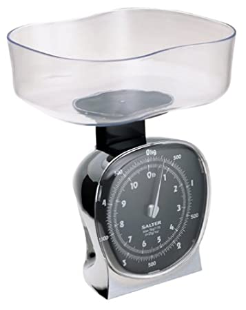 Salter 135 11 Pound Mechanical Kitchen Scale With Clear Bowl, Chrome